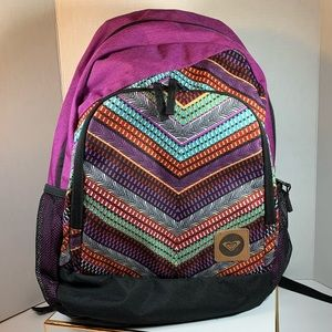 ROXY Backpack Chevron Pattern Purple Padded Straps